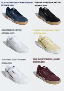 6 modelos Adidas Continental 80 con colores y números de referencia