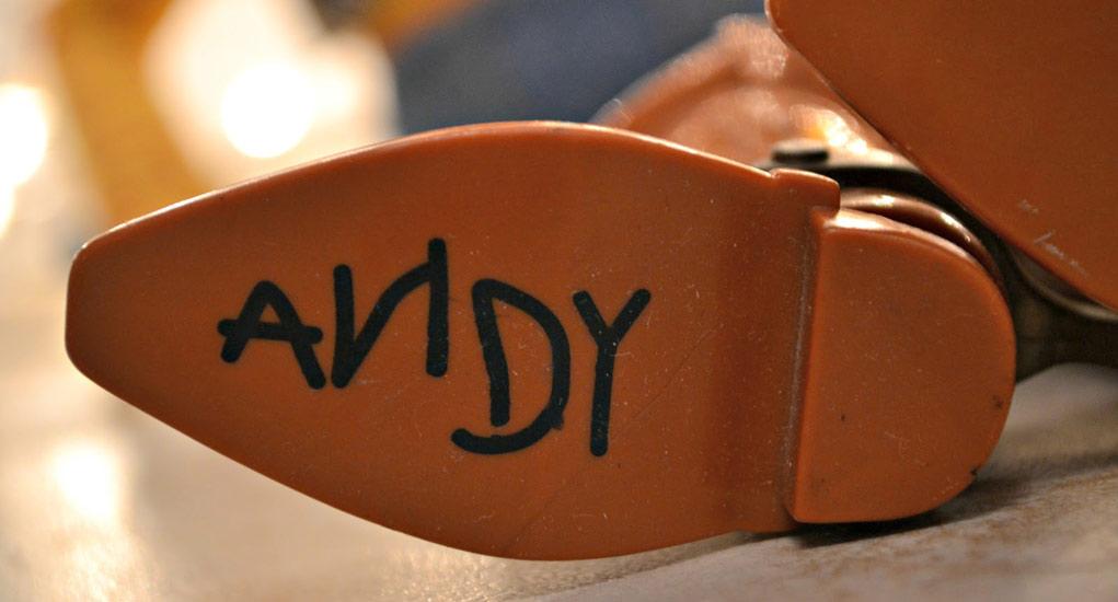 Suela de Woody con ANDY escrito
