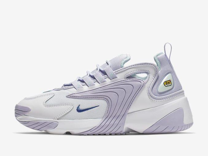 Zapatillas Nike Zoom 2K modelo blanco/morado oxígeno/tinte azul verdoso/zafiro. Referencia: AO0354-103