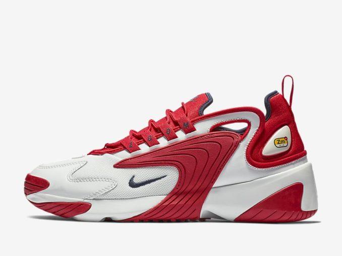 Zapatilla Nike Zoom 2K modelo Blanco cáscara de huevo/Rojo universitario/Obsidiana. Referencia: AO0269-102